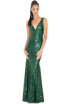 SEQUINNED LOW V NECK MAXI DRESS £90.00