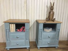 Sturdy pine bedside cabinets, painted in Annie Sloan Chalk Paint Duck Egg Blue over Old White, lightly distressed, sealed with Annie's clear wax and Polyvine Flat Matt Varnish; new, hand-painted porcelain drawer pulls added - a beachy look in the boudoir. These are a great size to store your night time knickknacks. FOR SALE AS A PAIR: £300 H:67.5 W:54cm D:40cm