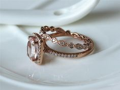 7x9mm Oval Cut VS Morganite Ring 14K Rose Gold Pave by ByLaris
