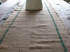 burlap table runner with stripes tutorial.