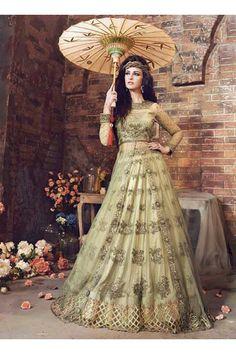 Green Net Party Wear Heavy Embroidery Work Anarkali Suit