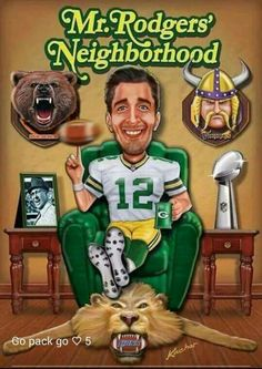 Rodger's dressed in a Green Bay Packer uniform. Packers Memes, Packers Funny, Packers Baby, Go Packers, Nfl Memes, Packers Football, Football Memes, Greenbay Packers, Football Pics