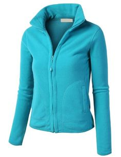LE3NO Womens Lightweight Active Soft Fitted Zip up Fleece Jacket
