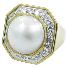 David Webb Mabe Pearl Diamond Gold Platinum Ring | From a unique collection of vintage fashion rings at https://www.1stdibs.com/jewelry/rings/fashion-rings/