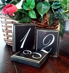 Wedding Table Numbers - Rustic - Shabby Chic - Cottage - Wood - Country - Receptions - Black and White