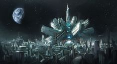 """Transportation hub - Moon - by Leon Tukker """"In a distant future. When earth is over populated and the moon turned into a sprawling city. There is a big transportation hub that makes use of railguns to. Cyberpunk City, Futuristic City, Fantasy City, Sci Fi Fantasy, Sci Fi City, Science Fiction Art, Environment Concept Art, Future City, Urban Landscape"""