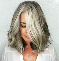 Medium-Gray-Balayage-Hairstyle-for-Thick-Hair Gorgeous Gray Hair Styles Try In 2020 Grey Curly Hair, Long Gray Hair, Brown Ombre Hair, Silver Grey Hair, Curly Hair Styles, Thick Hair, Wavy Hair, Lilac Hair, Grey Ombre