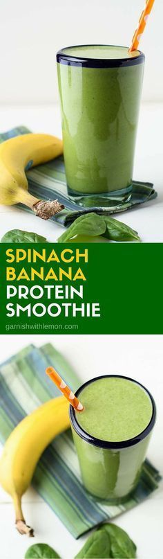 Start your day on the right foot with a healthy, filling breakfast. This Spinach… Start your day on the right foot with a healthy, filling breakfast. This Spinach Banana Protein Smoothie recipe will keep you going until lunch! Protein Smoothies, Smoothie Detox, Protein Shake Recipes, Yummy Smoothies, Juice Smoothie, Smoothie Drinks, Breakfast Smoothies, Yummy Drinks, Healthy Drinks
