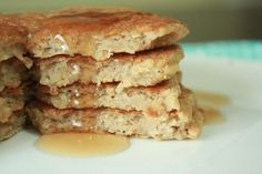 Fluffy Buttermilk Protein Pancakes (Dairy Free)   meals & moves Whole wheat flour, stevia, coconut oil & PEA PROTEIN POWDER