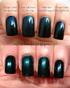 Morgan Taylor The Big Reveal, China Glaze Emerald Fitzgerald, Aura On the Edge   Cajkine kandže i sve njihove boje