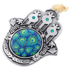 Iris Design Hand Painted Seven Species Hamsa - Peacocks Design, Jewish & Israeli Art   Judaica Web Store