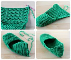 The secret to crocheting slippers/socks Diy Crochet Slippers, Crochet Slipper Pattern, Crochet Baby Booties, Crochet Santa, Knit Crochet, Granny Square Slippers, Knitting Patterns, Crochet Patterns, Crochet Accessories