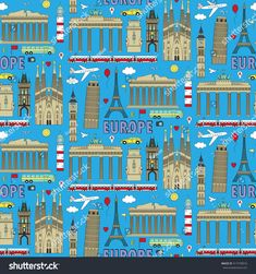 European landmarks and transports seamless pattern. Vector illustration with travel elements of countries  France, Germany, GB, Italy, Spain, Greece, Portugal,  Czech