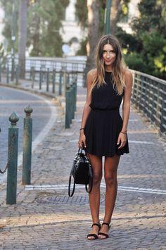 Classic & Simple. Little Black Dress & Black Sandals.