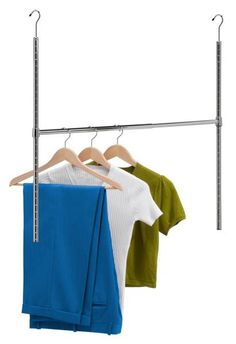 Adjustable Hanging Closet Rod Material: Sturdy Steel, Chrome plated 38-inch wide Bar Holds up to 50 pounds of weight Adds an extra layer to your closet Adjusts to your preferred hanging height Notches