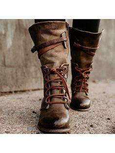 hochzeitsschuhe winter Vintage Women Lace-up Boots Adjustable Buckle Faux Leather Low Heel Boots Flat Heel Boots, Heeled Boots, Shoe Boots, Women's Boots, High Boots, Ankle Boots, Combat Boots, Flat Sandals, Flats