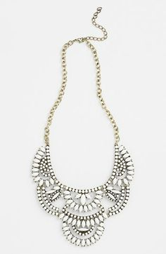 "Lovely white bib statement necklace to pair with any color. This is one of our most popular pieces. Approx 18"" + 3"" extension. Very adjustable. Can be worn closer to neck or drop down for a bib look."