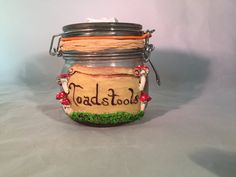 Toadstool Apothecary Jar Witch's Kitchen by SagasCottage on Etsy