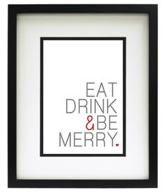 Free Printable Tuesday: Eat, Drink & Be Merry Kitchen Print