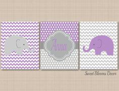 Purple Gray Nursery Wall Art,Elephant Nursery Wall Art,Lavender Gray Nursery Wall Art,Elephant Polkadot Monorgam,Elephant Floral Wall Art Purple Gray Nursery Wall ArtElephant Nursery by SweetBloomsDecor