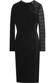 Stella McCartney - Lace-paneled Stretch-crepe Dress - Black - IT