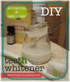 DIY Natural Teeth Whitener~ aluminum free baking soada, 3% food grade hydrogen peroxide,and peppermint oil.