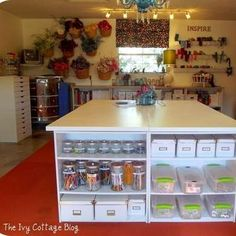 Renovated garage turned into craft room