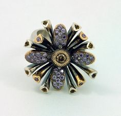 Ring | Metal and Stone Elite Designs.  Sterling silver, 14k yellow gold, amethysts, white and champagne diamonds.