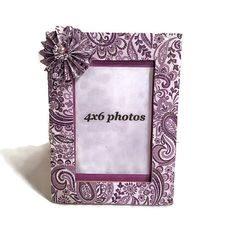 Purple Paisley Frame Paisley Decoupaged Frame by IllusionCreations