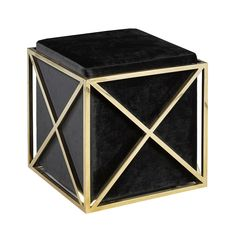 Upholstered Ottoman with Polished Stainless Steel or Gold Base Available in Black, Red and Blue Velvet and White Leatherette. Size:  17.7 x 17.7 x 18.1 in Price: $260 CAD