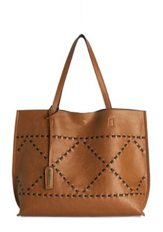 X Marks the Spot Bag. Wherever you tote this beautiful brown bag, thats the place to be! #brown #modcloth
