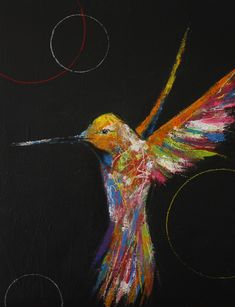 Bunter Kolibri auf schwarzem Grund #art #kunst #black #acryl