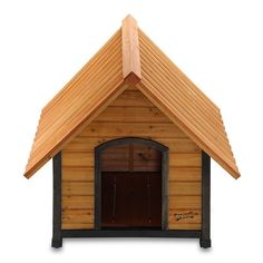 traditional wood dog house with pitched roof. Attractive and easy to assemble. Wood dog houses are naturally insulated.