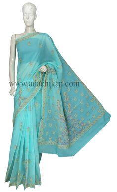 Ada #handembroidered #Green Cotton #Lucknowi #Chikankari Saree With Blouse-A121675 - #AdaChikan