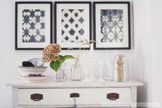Beautiful batik fabrics from Tine K in Ikea frames. via Miss Klein: batik - frame it! Paper Frames, Ikea Frames, Batik, Frame It, Rustic Interiors, My Dream Home, Furniture Design, Sweet Home, Diy Crafts