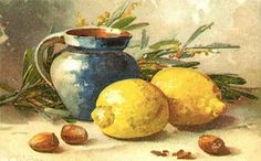 Catherine Klein postcard of blue pitcher and lemons, nuts, Catherine Klein, Fruit Painting, China Painting, Watercolor Landscape, Watercolor And Ink, Pictures To Paint, Art Pictures, Lemon Art, Fruit Art
