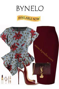 Ankara Tops Blouses, Ankara Peplum Tops, African Blouses, Ankara Skirt, African Print Dresses, African Dresses For Women, African Attire, African Fashion Dresses, Office Wear Women Work Outfits