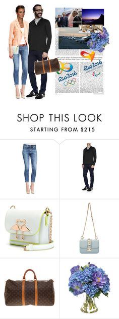 """""""Leaving Moscow for Rio 2016 Olympic Games"""" by emprbr ❤ liked on Polyvore featuring AG Adriano Goldschmied, Whiteley, Michael Kors, Sophia Webster, Valentino, Opening Ceremony, Louis Vuitton and Diane James"""