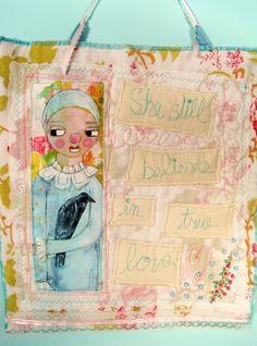 True Love  ART Quilt by herpaintedword on Etsy, $40.00