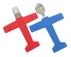 Airplane Fork and Spoon Set for Kids! Stainless Steel and Silicone, plastic-free.