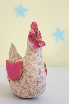 Chicken stuffed animal plush hand made doll by PetChickenRanch