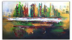 Tropical City - #Gemälde grün rot gelb- #Abstrakte-Malerei XXL - Bild querformat