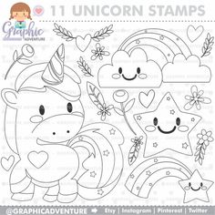Unicorn Stamp, COMMERCIAL USE, Digi Stamp, Digital Image, Party Digistamp, Unicorn Coloring Page, Un Butterfly Coloring Page, Unicorn Coloring Pages, Coloring Book Pages, Unicorns And Mermaids, Cute Unicorn, Baby Unicorn, Unicorn Crafts, Felt Patterns, Digi Stamps
