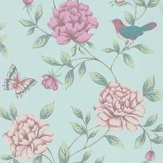 vliesbehang bloem turquoise (dessin 17869), alles voor je klus om je huis & tuin te verfraaien vind je bij KARWEI