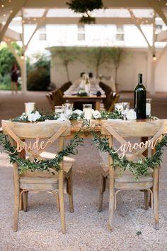 Garland & calligraphy chair back decor #cedarwoodweddings 06.10.17 :: Lauren + Martin | Cedarwood Weddings