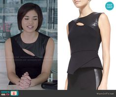 Heather's black leather panel top on Beauty and the Beast.  Outfit Details: http://wornontv.net/50618/ #BATB