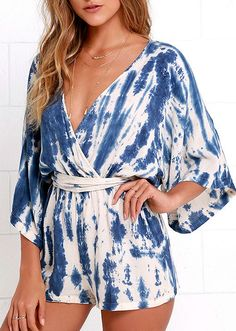 A mighty wind is coming ashore, so schedule a session of kite flying with the Seaside Gale Blue Tie-Dye Romper! Woven rayon, with a blue and beige tie-dye print, covers a surplice bodice (with modesty snap) and wide half sleeves.  #lovelulus