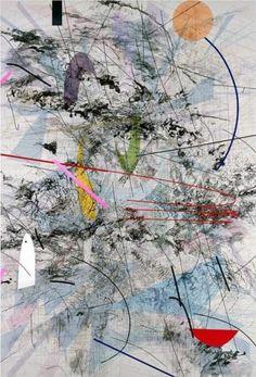 Easy Dark - Julie Mehretu - Shapes, Lines, Block colour, black pattern, faded, rough, mix