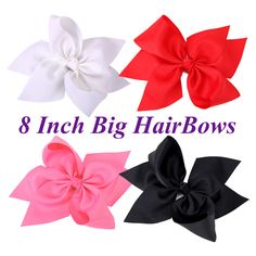 1Pc 8 Inch Boutique Six Petals Ribbon Bow With Alligator Clip Girls Hairpin Big Bowknot Hair Clips Kid Children Hair Accessories #Affiliate