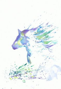 Art Watercolor Painting - Print Original  Painting 8x11 Animal Horse Abstract  Spring Home Decor Illustration  fuchsia purple blue. $19.00, via Etsy.